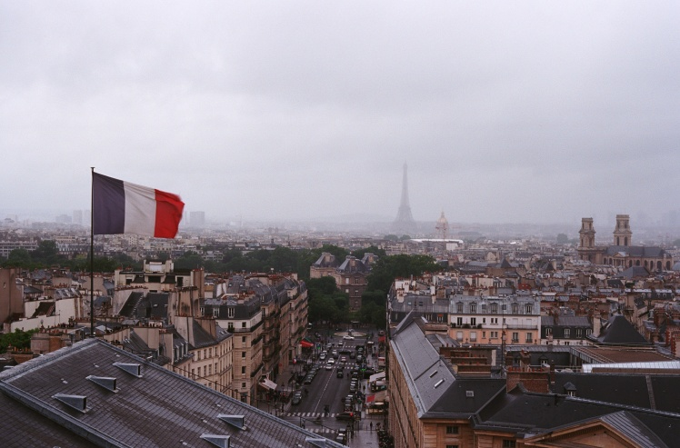 Gray Paris with French flag